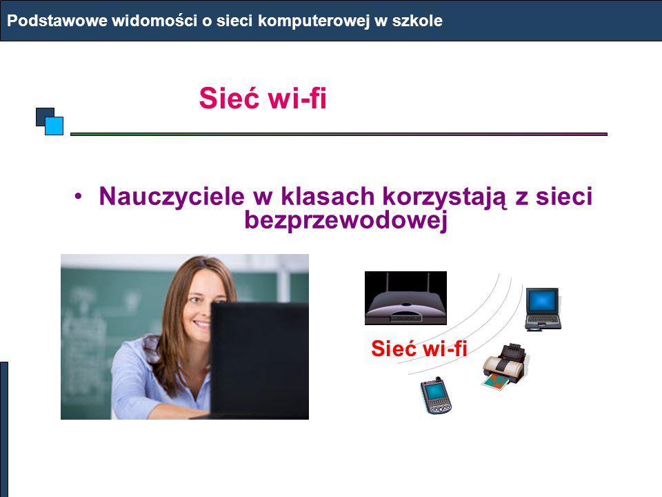 Urządzenia w sieci Podstawowe widomości o sieci komputerowej w szkole Komputery PC, laptopy Kable, magistrala Routery Drukarki Smartfony Monitoring