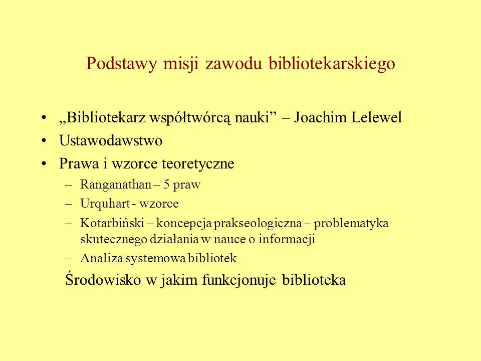 """Podstawy misji zawodu bibliotekarskiego """"Bibliotekarz współtwórcą nauki"""" – Joachim Lelewel Ustawodawstwo Prawa i wzorce teoretyczne –Ranganathan – 5 p"""