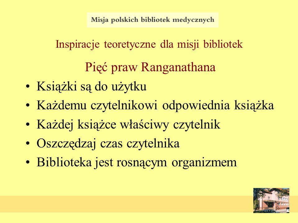Inspiracje teoretyczne dla misji bibliotek Pięć praw Ranganathana Książki są do użytku Każdemu czytelnikowi odpowiednia książka Każdej książce właściwy czytelnik Oszczędzaj czas czytelnika Biblioteka jest rosnącym organizmem