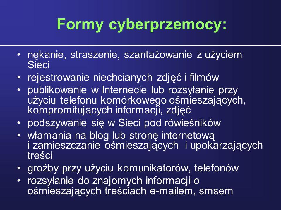 Formy cyberprzemocy: nękanie, straszenie, szantażowanie z użyciem Sieci rejestrowanie niechcianych zdjęć i filmów publikowanie w Internecie lub rozsył