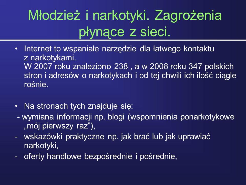 Młodzież i narkotyki. Zagrożenia płynące z sieci. Internet to wspaniałe narzędzie dla łatwego kontaktu z narkotykami. W 2007 roku znaleziono 238, a w