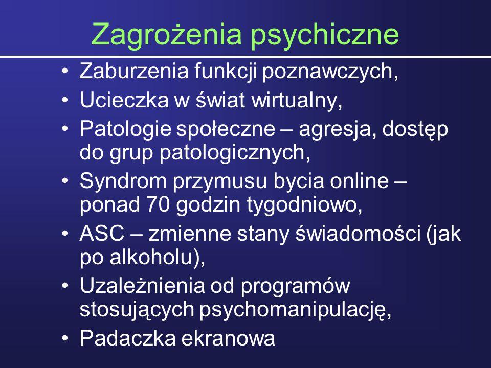Zagrożenia psychiczne Zaburzenia funkcji poznawczych, Ucieczka w świat wirtualny, Patologie społeczne – agresja, dostęp do grup patologicznych, Syndro