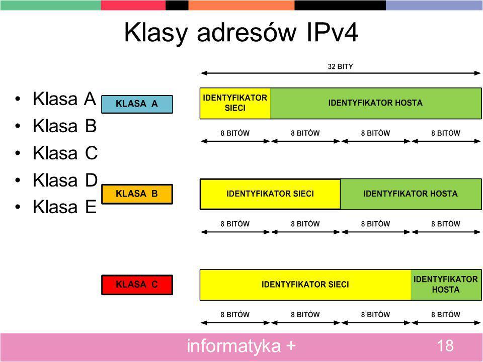 Klasy adresów IPv4 Klasa A Klasa B Klasa C Klasa D Klasa E 18 informatyka +