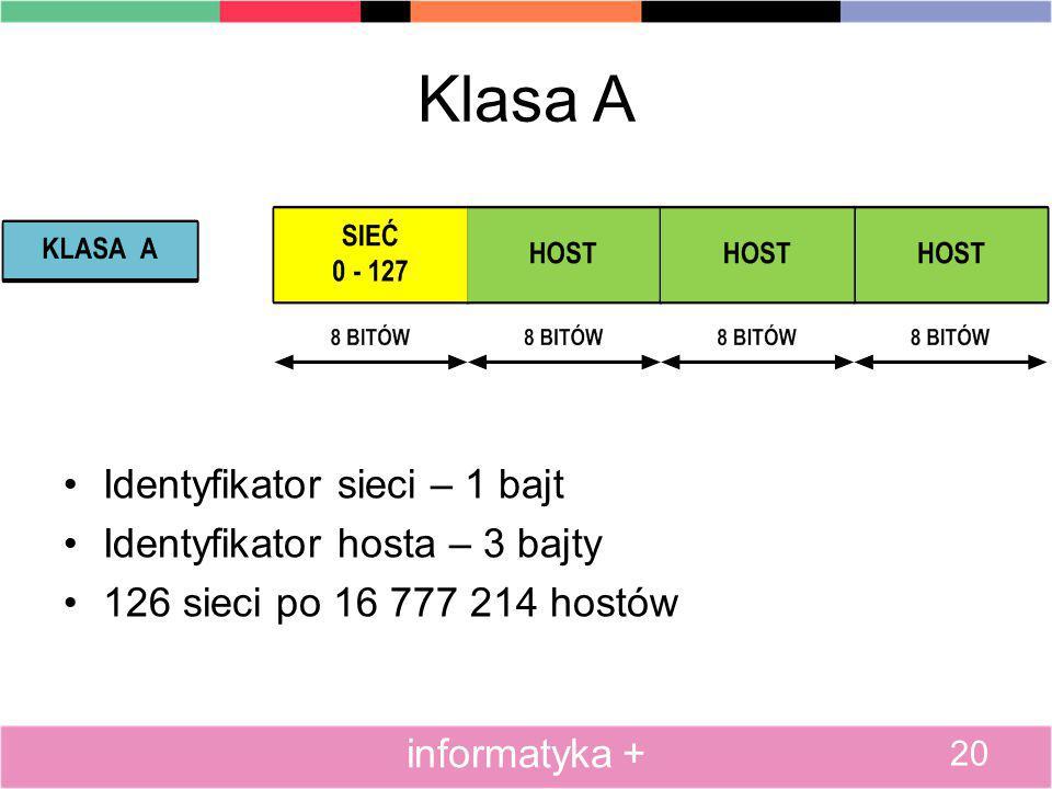 Klasa A Identyfikator sieci – 1 bajt Identyfikator hosta – 3 bajty 126 sieci po 16 777 214 hostów 20 informatyka +