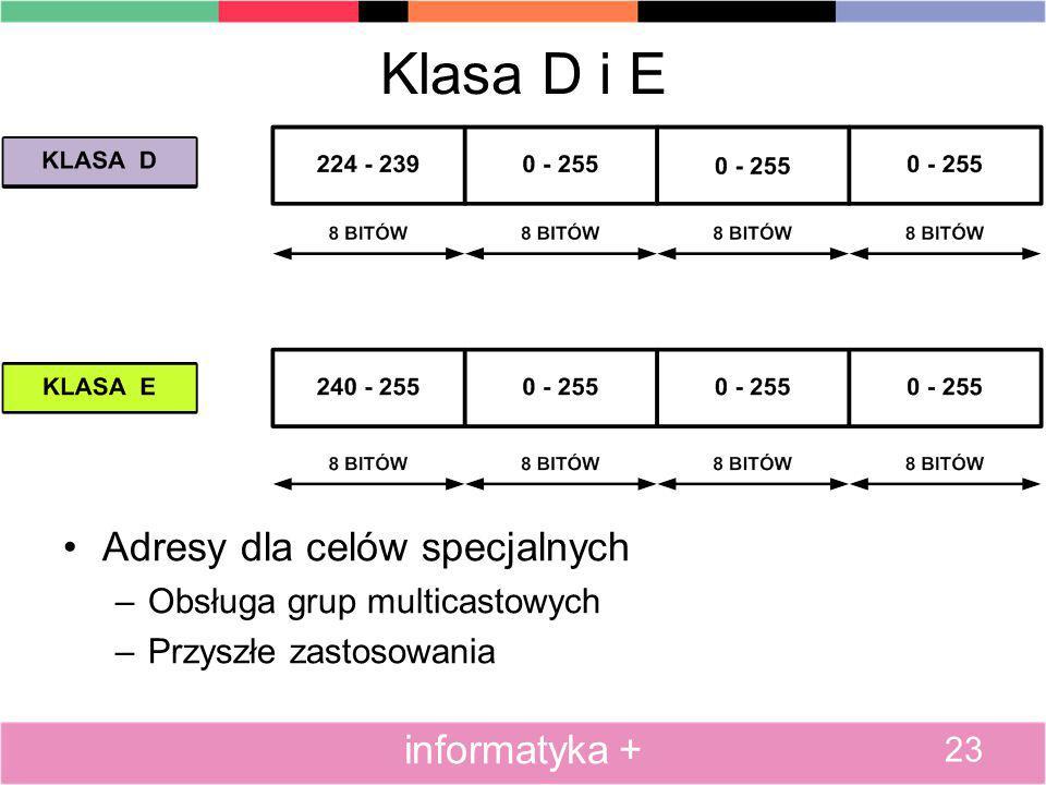Klasa D i E Adresy dla celów specjalnych –Obsługa grup multicastowych –Przyszłe zastosowania 23 informatyka +