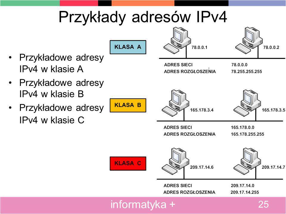 Przykłady adresów IPv4 Przykładowe adresy IPv4 w klasie A Przykładowe adresy IPv4 w klasie B Przykładowe adresy IPv4 w klasie C 25 informatyka +