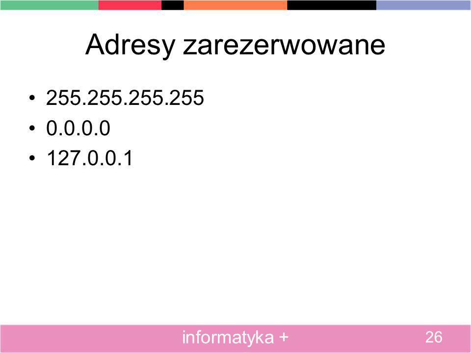 Adresy zarezerwowane 255.255.255.255 0.0.0.0 127.0.0.1 26 informatyka +
