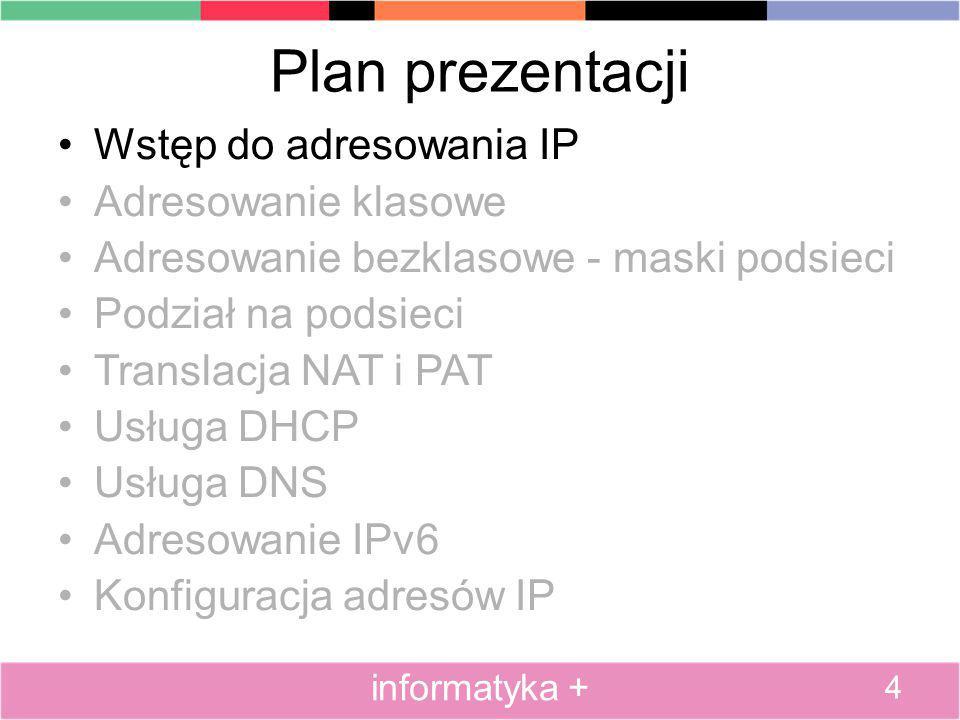 Plan prezentacji Wstęp do adresowania IP Adresowanie klasowe Adresowanie bezklasowe - maski podsieci Podział na podsieci Translacja NAT i PAT Usługa DHCP Usługa DNS Adresowanie IPv6 Konfiguracja adresów IP 55 informatyka +