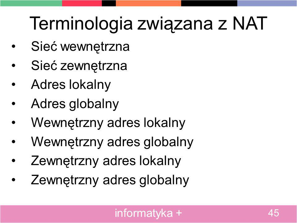 Terminologia związana z NAT Sieć wewnętrzna Sieć zewnętrzna Adres lokalny Adres globalny Wewnętrzny adres lokalny Wewnętrzny adres globalny Zewnętrzny
