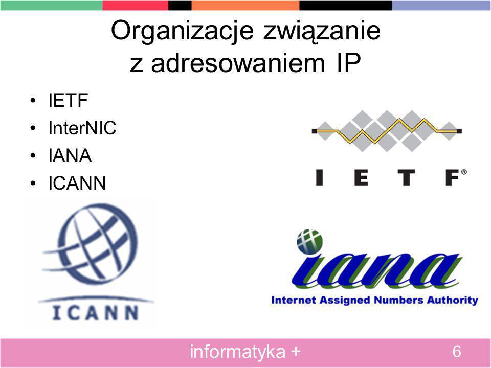 Plan prezentacji Wstęp do adresowania IP Adresowanie klasowe Adresowanie bezklasowe - maski podsieci Podział na podsieci Translacja NAT i PAT Usługa DHCP Usługa DNS Adresowanie IPv6 Konfiguracja adresów IP 27 informatyka +