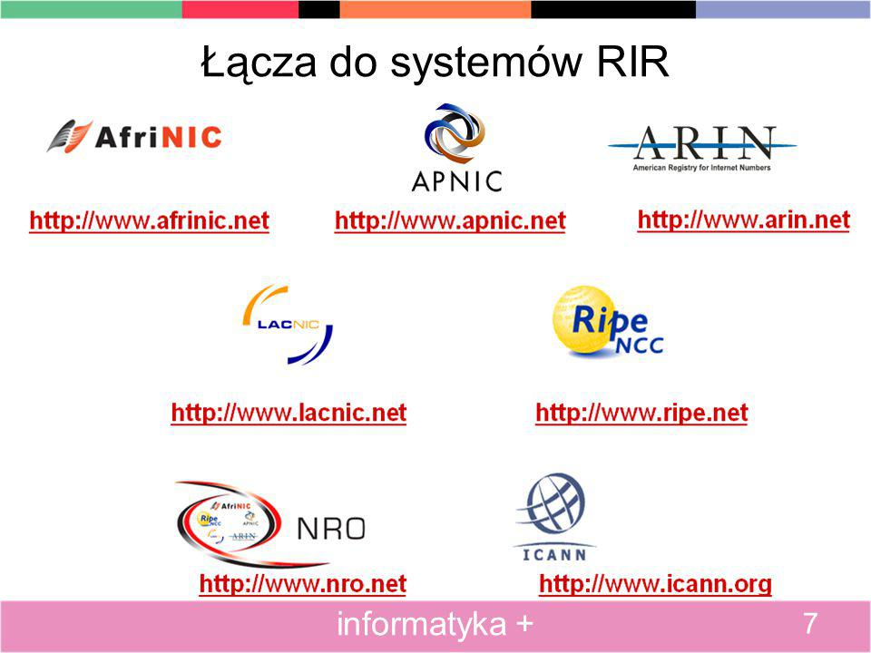 Łącza do systemów RIR 7 informatyka +