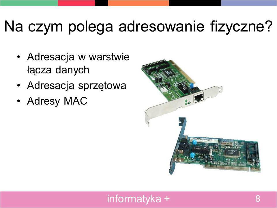 Na czym polega adresowanie fizyczne? Adresacja w warstwie łącza danych Adresacja sprzętowa Adresy MAC 8 informatyka +