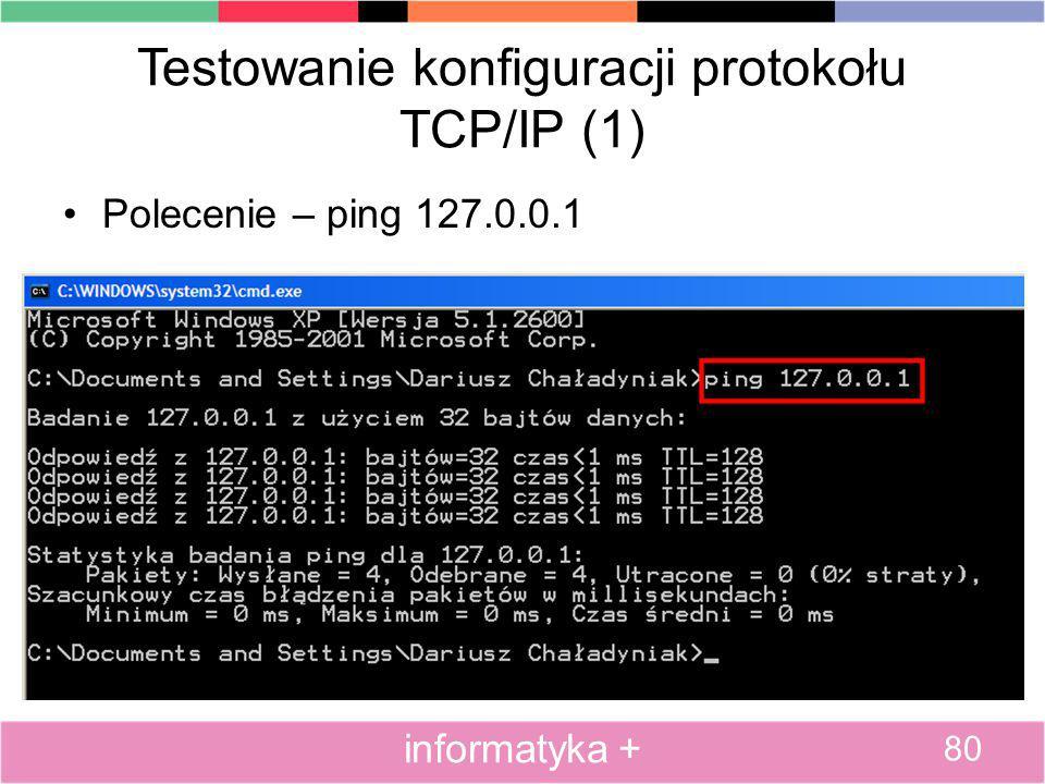 Testowanie konfiguracji protokołu TCP/IP (1) Polecenie – ping 127.0.0.1 80 informatyka +
