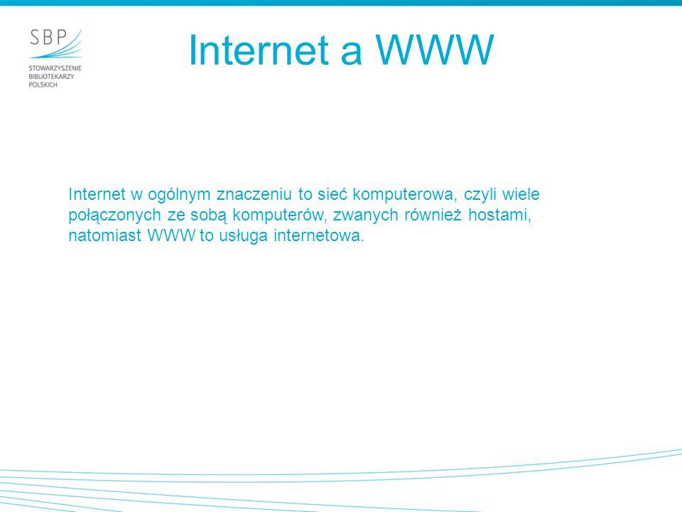 Internet a WWW Internet w ogólnym znaczeniu to sieć komputerowa, czyli wiele połączonych ze sobą komputerów, zwanych również hostami, natomiast WWW to