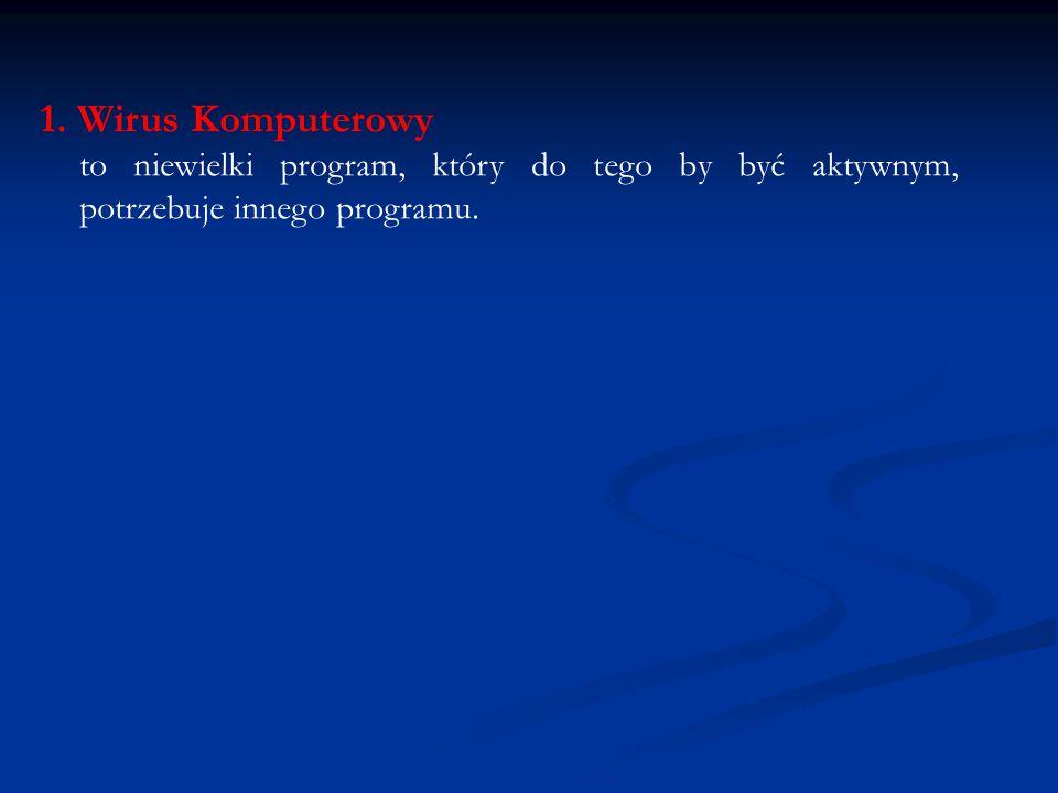 1. Wirus Komputerowy to niewielki program, który do tego by być aktywnym, potrzebuje innego programu.