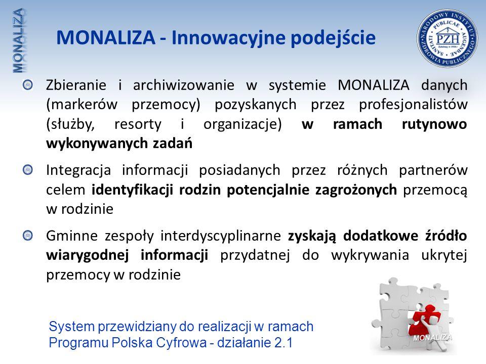 MONALIZA - Innowacyjne podejście Zbieranie i archiwizowanie w systemie MONALIZA danych (markerów przemocy) pozyskanych przez profesjonalistów (służby,