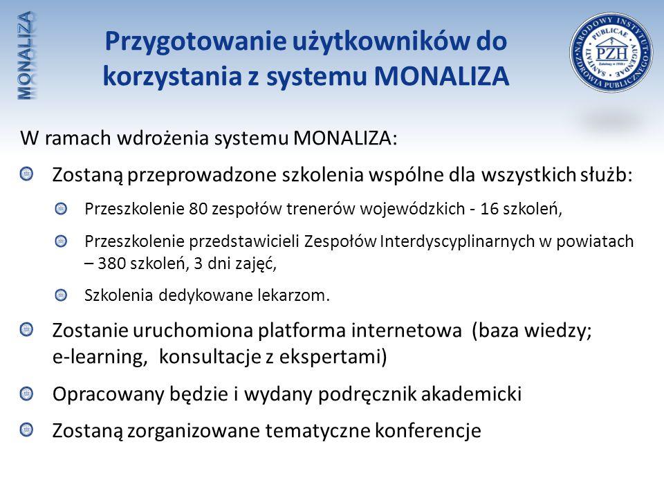 Przygotowanie użytkowników do korzystania z systemu MONALIZA W ramach wdrożenia systemu MONALIZA: Zostaną przeprowadzone szkolenia wspólne dla wszystk