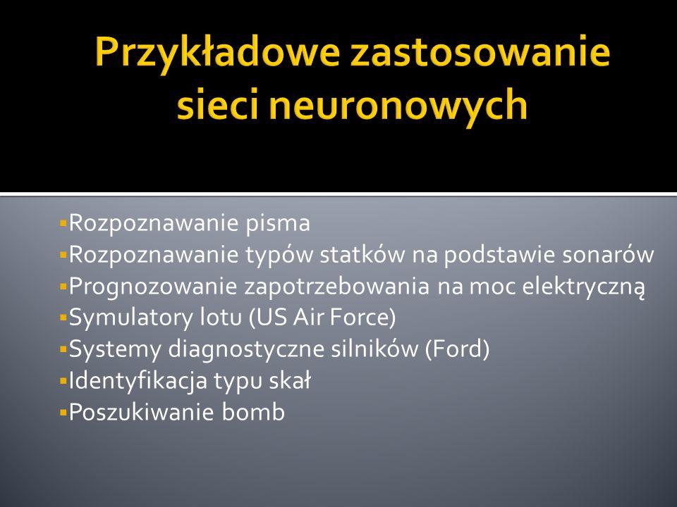  Rozpoznawanie pisma  Rozpoznawanie typów statków na podstawie sonarów  Prognozowanie zapotrzebowania na moc elektryczną  Symulatory lotu (US Air