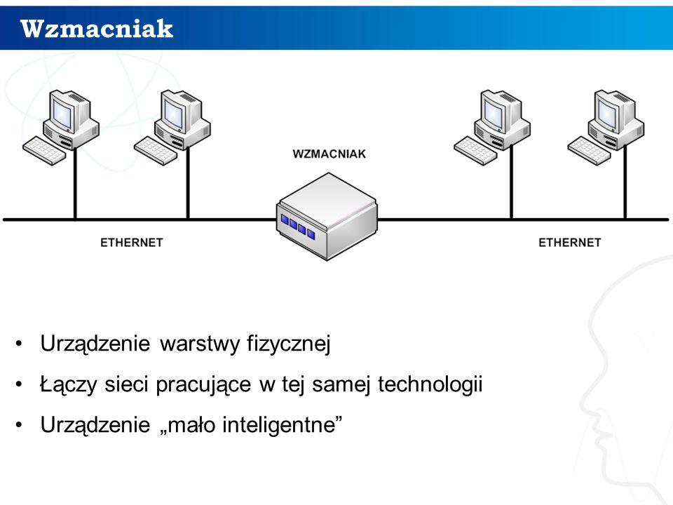 """Wzmacniak Urządzenie warstwy fizycznej Łączy sieci pracujące w tej samej technologii Urządzenie """"mało inteligentne"""""""