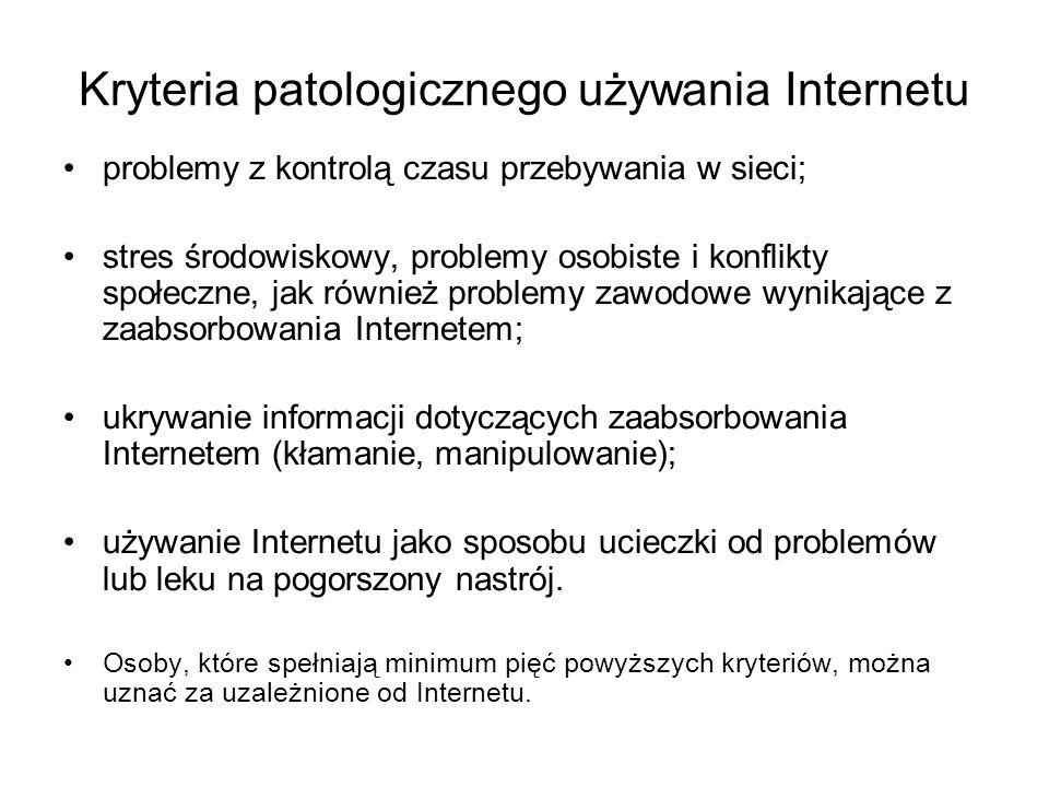 Kryteria patologicznego używania Internetu problemy z kontrolą czasu przebywania w sieci; stres środowiskowy, problemy osobiste i konflikty społeczne, jak również problemy zawodowe wynikające z zaabsorbowania Internetem; ukrywanie informacji dotyczących zaabsorbowania Internetem (kłamanie, manipulowanie); używanie Internetu jako sposobu ucieczki od problemów lub leku na pogorszony nastrój.
