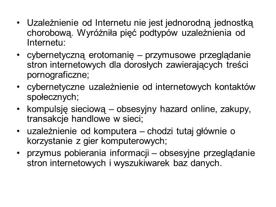 Uzależnienie od Internetu nie jest jednorodną jednostką chorobową.