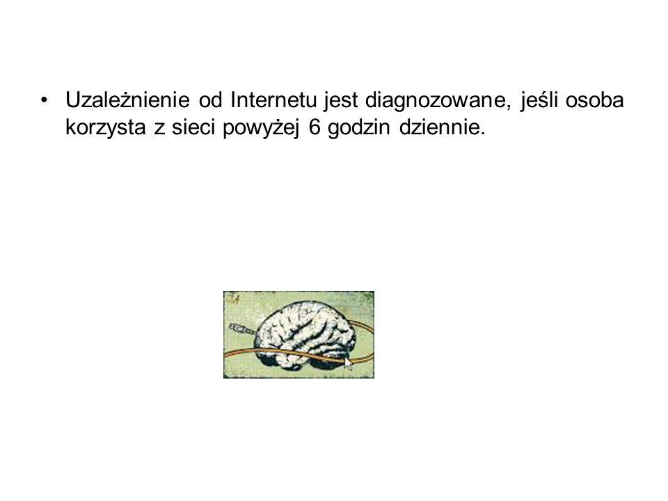 Uzależnienie od Internetu jest diagnozowane, jeśli osoba korzysta z sieci powyżej 6 godzin dziennie.