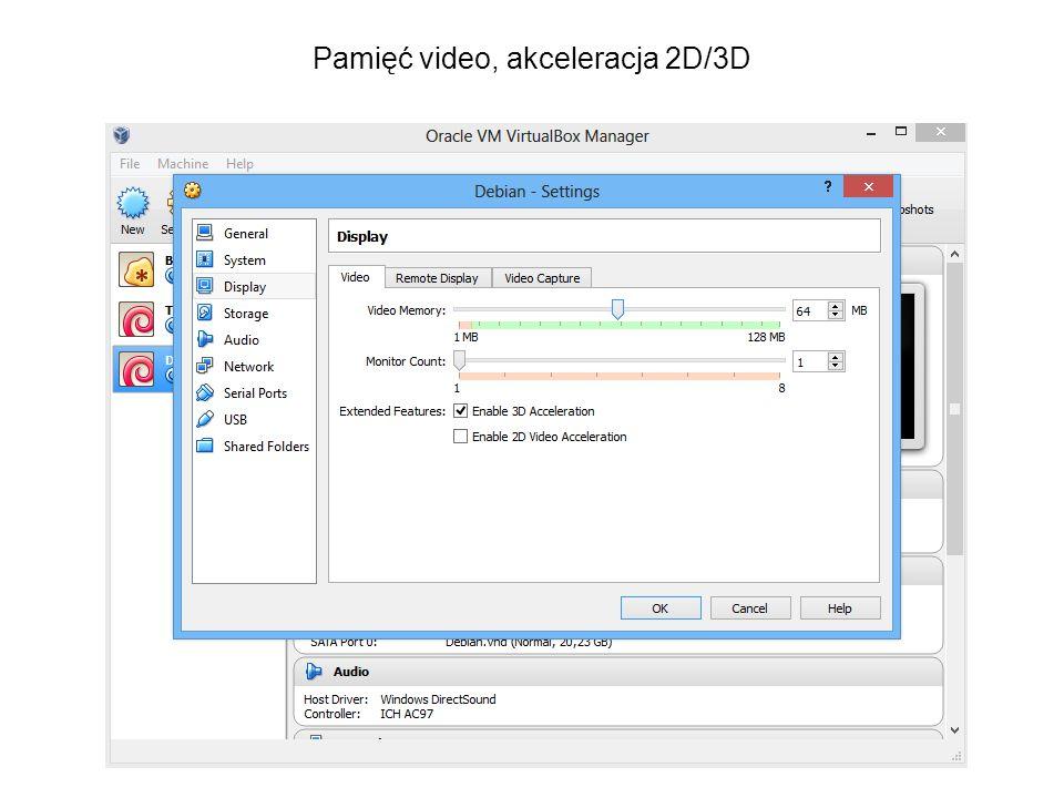 Pamięć video, akceleracja 2D/3D