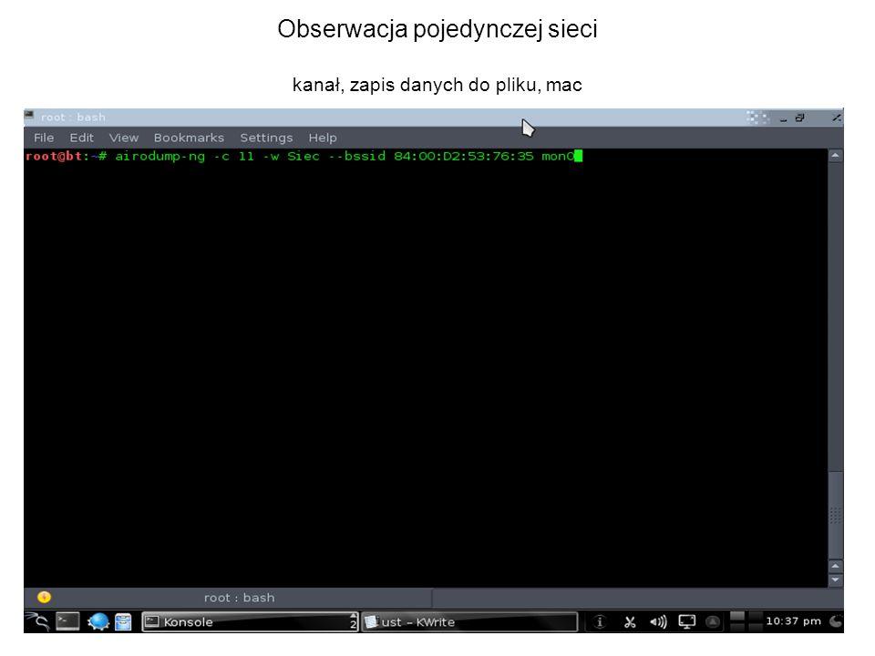 Obserwacja pojedynczej sieci kanał, zapis danych do pliku, mac