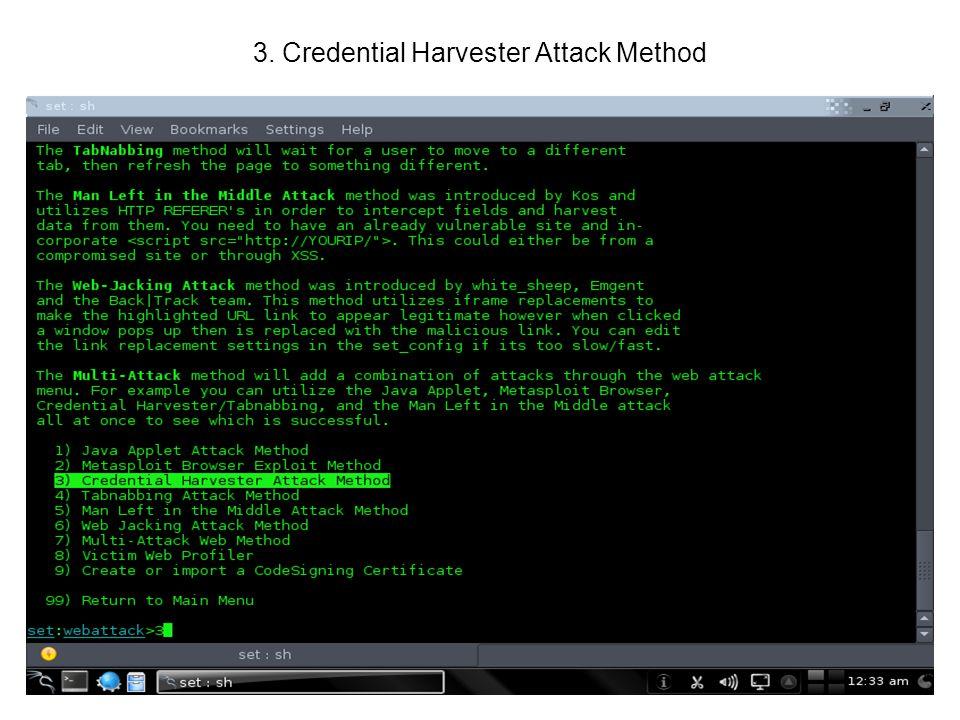 3. Credential Harvester Attack Method