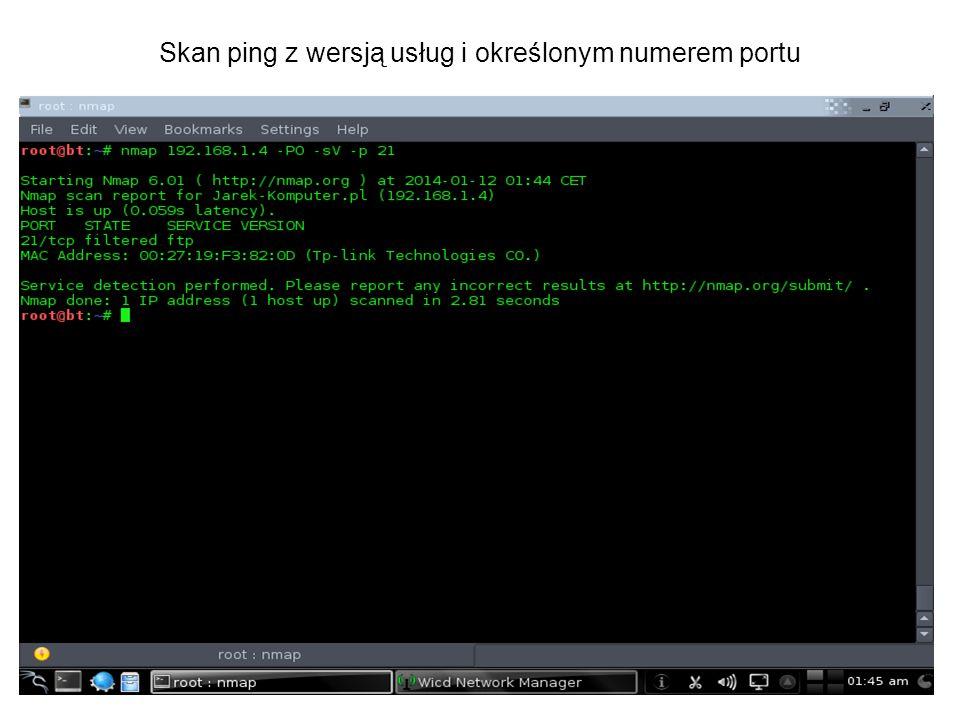 Skan ping z wersją usług i określonym numerem portu