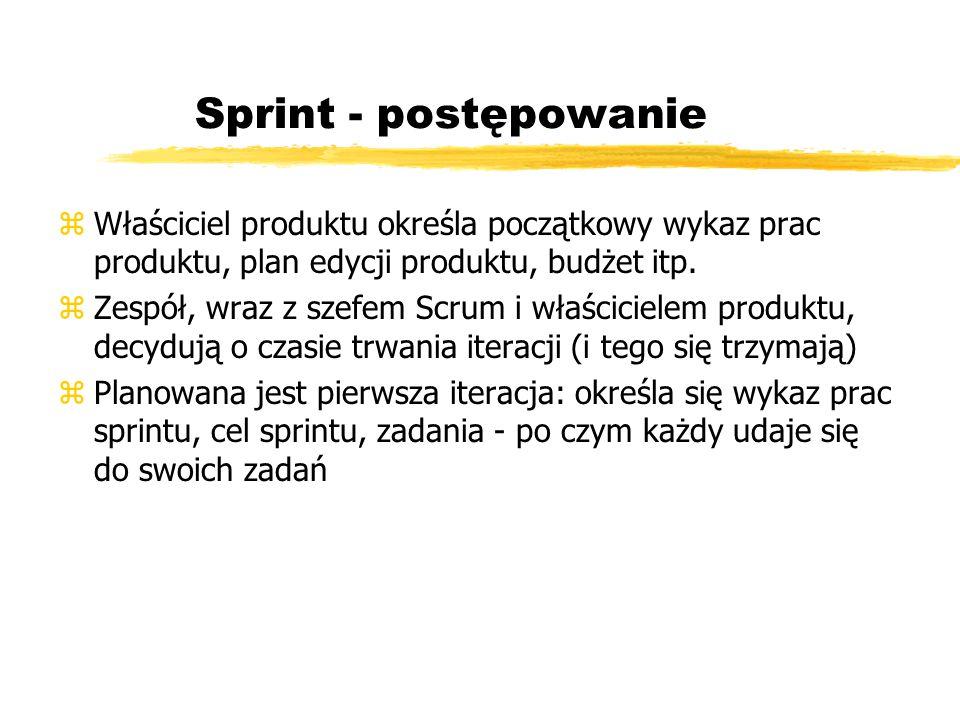 SCRUM - mapa sprintu Product backlog Sprint backlog n dni 24 h Daily Scrum Working Increment Product version