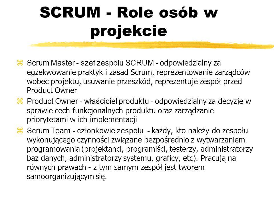 SCRUM - Podstawowe pojęcia zSprint - zProduct Backlog - wykaz prac produktu zSprint Backlog - wykaz prac sprintu zWorking Increment -
