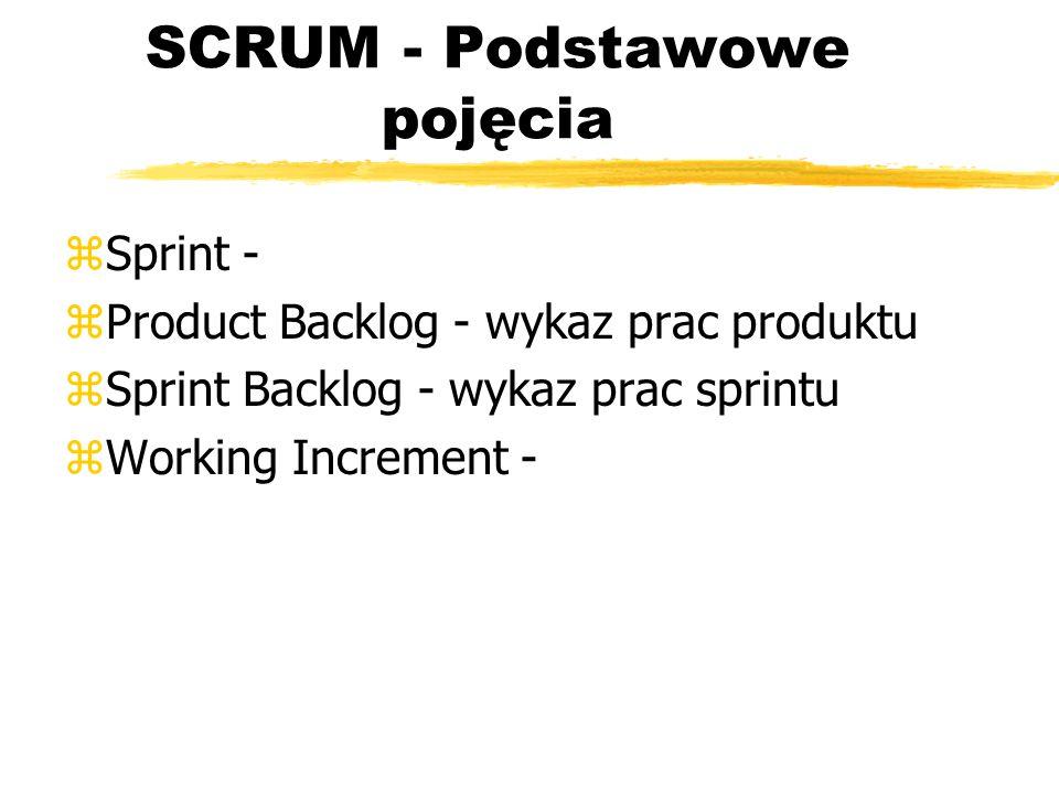 SCRUM - Daily Scrum  Szybkie spotkania -  Spotkanie przeglądu sprintu - ( sprint review meeting) ySpotkanie planowania sprintu - (sprint planning meeting) zCele i marszruta spotkań: yWiększa kontrol a nad projektem i wcześniejsze wykrywanie problemów ySkalowalność rozległości zespołu yNarzędzia (wykresy, wykazy) dla menedżera projektu (o nich potem)