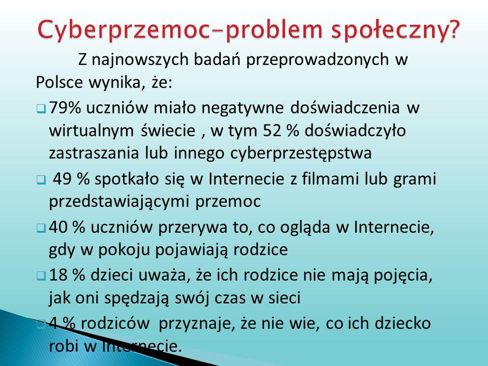 Z najnowszych badań przeprowadzonych w Polsce wynika, że:  79% uczniów miało negatywne doświadczenia w wirtualnym świecie, w tym 52 % doświadczyło za