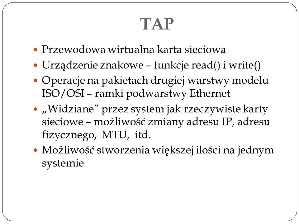 TAP Przewodowa wirtualna karta sieciowa Urządzenie znakowe – funkcje read() i write() Operacje na pakietach drugiej warstwy modelu ISO/OSI – ramki pod