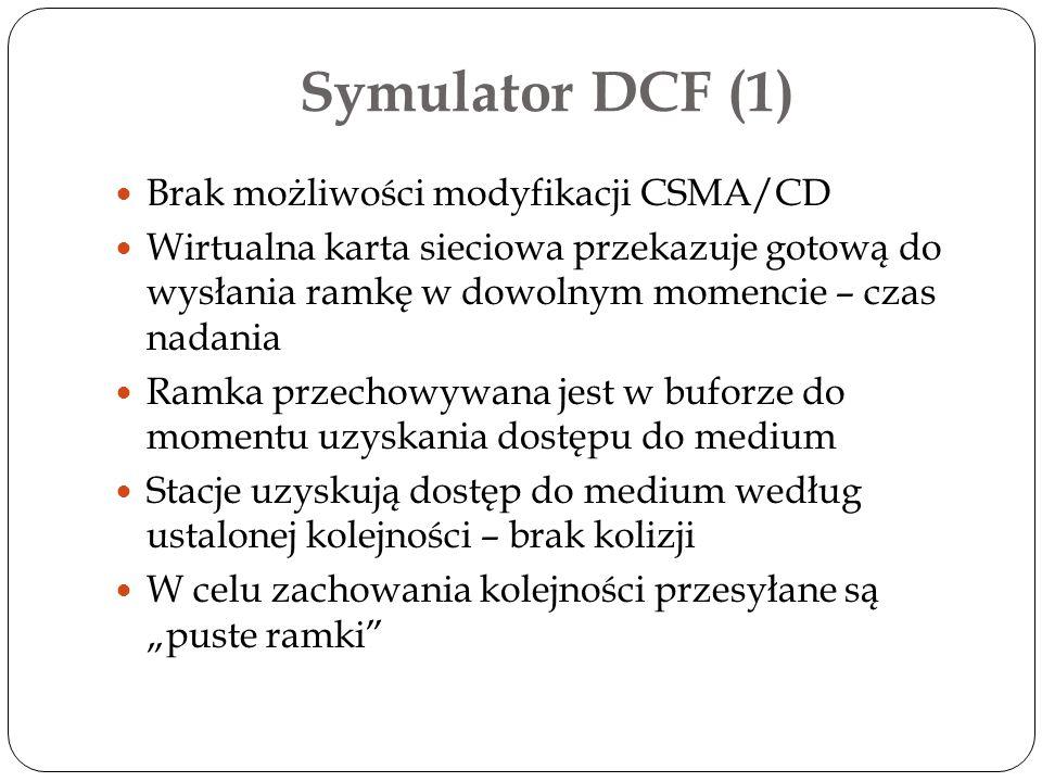 Symulator DCF (1) Brak możliwości modyfikacji CSMA/CD Wirtualna karta sieciowa przekazuje gotową do wysłania ramkę w dowolnym momencie – czas nadania