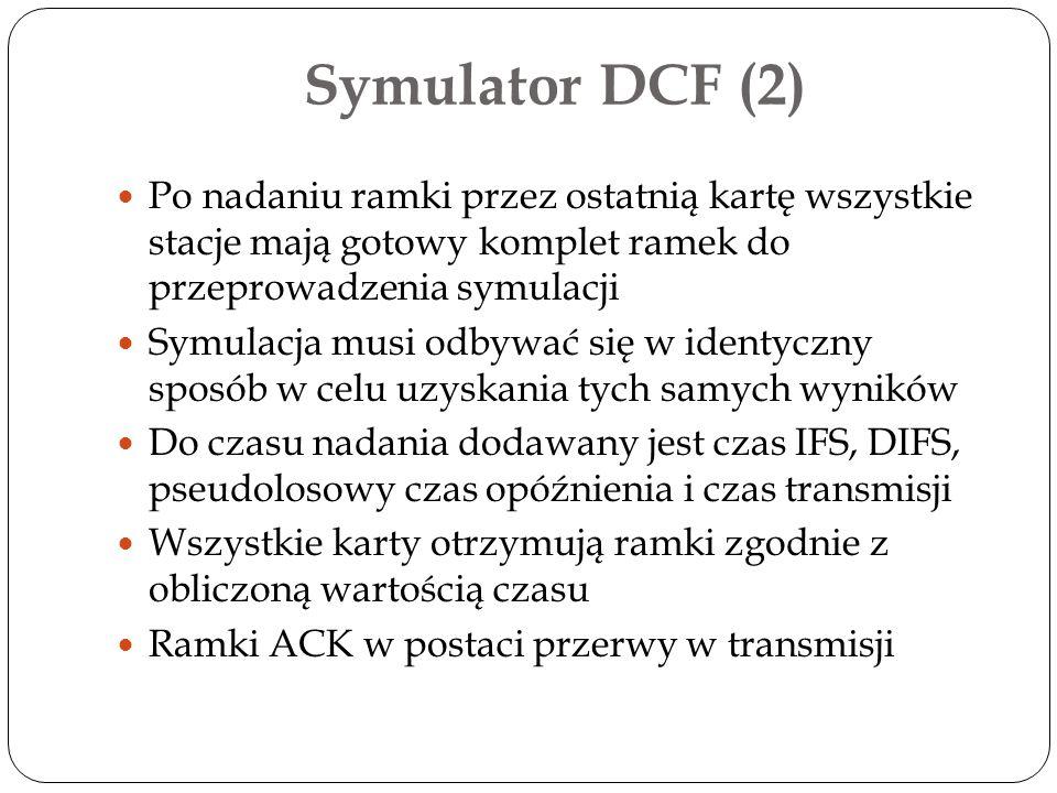 Symulator DCF (2) Po nadaniu ramki przez ostatnią kartę wszystkie stacje mają gotowy komplet ramek do przeprowadzenia symulacji Symulacja musi odbywać