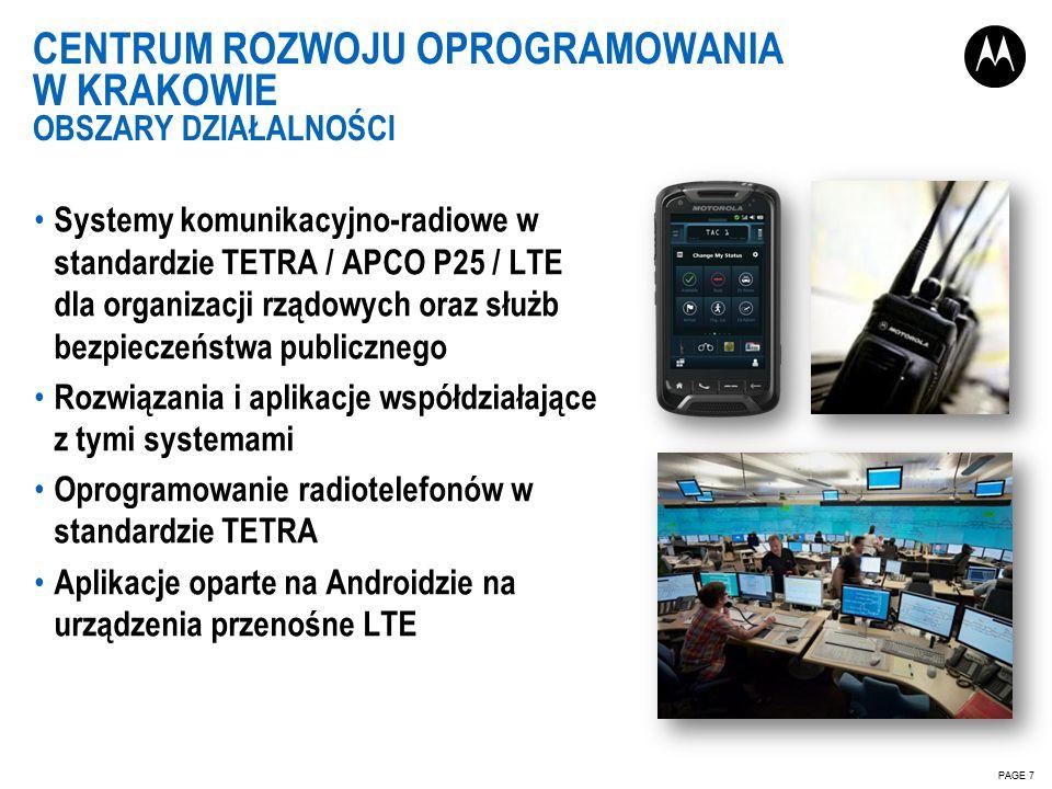 CENTRUM ROZWOJU OPROGRAMOWANIA W KRAKOWIE OBSZARY DZIAŁALNOŚCI PAGE 7 Systemy komunikacyjno-radiowe w standardzie TETRA / APCO P25 / LTE dla organizacji rządowych oraz służb bezpieczeństwa publicznego Rozwiązania i aplikacje współdziałające z tymi systemami Oprogramowanie radiotelefonów w standardzie TETRA Aplikacje oparte na Androidzie na urządzenia przenośne LTE