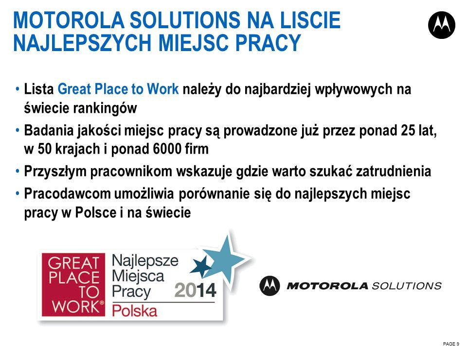 MOTOROLA SOLUTIONS NA LISCIE NAJLEPSZYCH MIEJSC PRACY PAGE 9 Lista Great Place to Work należy do najbardziej wpływowych na świecie rankingów Badania jakości miejsc pracy są prowadzone już przez ponad 25 lat, w 50 krajach i ponad 6000 firm Przyszłym pracownikom wskazuje gdzie warto szukać zatrudnienia Pracodawcom umożliwia porównanie się do najlepszych miejsc pracy w Polsce i na świecie
