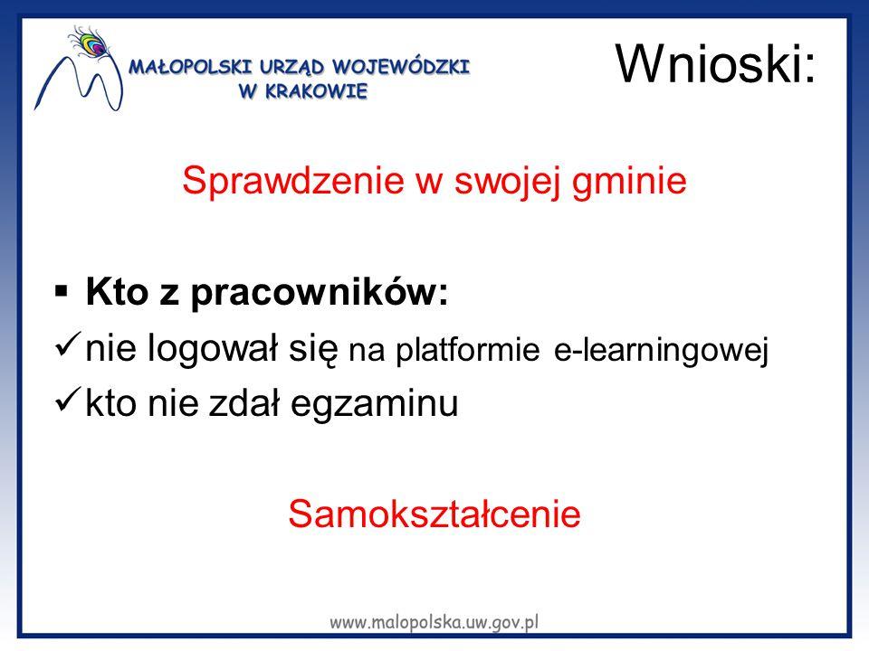 Wnioski: Sprawdzenie w swojej gminie  Kto z pracowników: nie logował się na platformie e-learningowej kto nie zdał egzaminu Samokształcenie