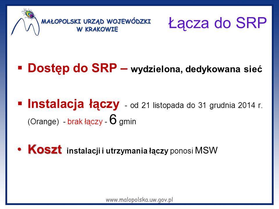 Łącza do SRP  Dostęp do SRP – wydzielona, dedykowana sieć  Instalacja łączy - od 21 listopada do 31 grudnia 2014 r. (Orange) - brak łączy - 6 gmin K
