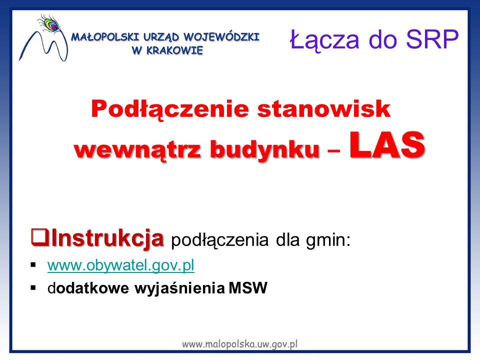 Łącza do SRP wewnątrz budynku LAS Podłączenie stanowisk wewnątrz budynku – LAS  Instrukcja  Instrukcja podłączenia dla gmin:  www.obywatel.gov.pl w
