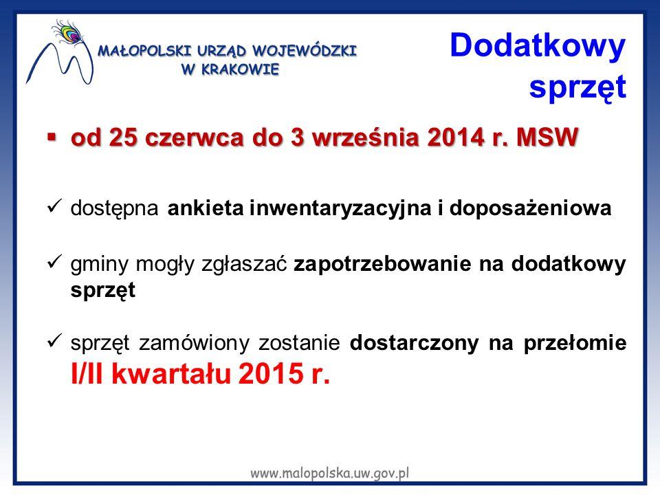 Dodatkowy sprzęt  od 25 czerwca do 3 września 2014 r. MSW dostępna ankieta inwentaryzacyjna i doposażeniowa gminy mogły zgłaszać zapotrzebowanie na d