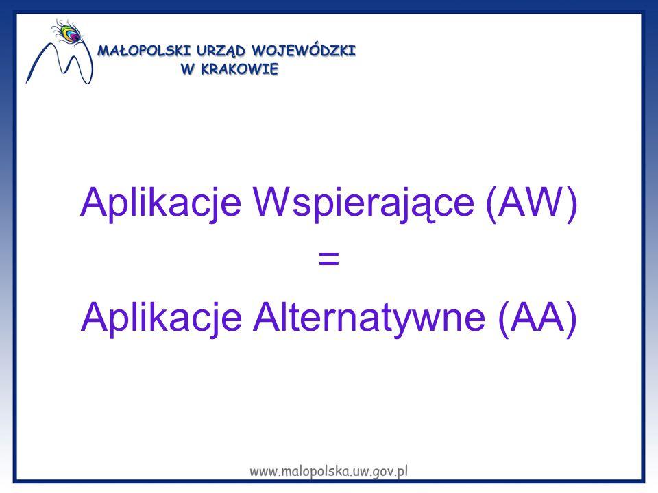Aplikacje Wspierające (AW) = Aplikacje Alternatywne (AA)
