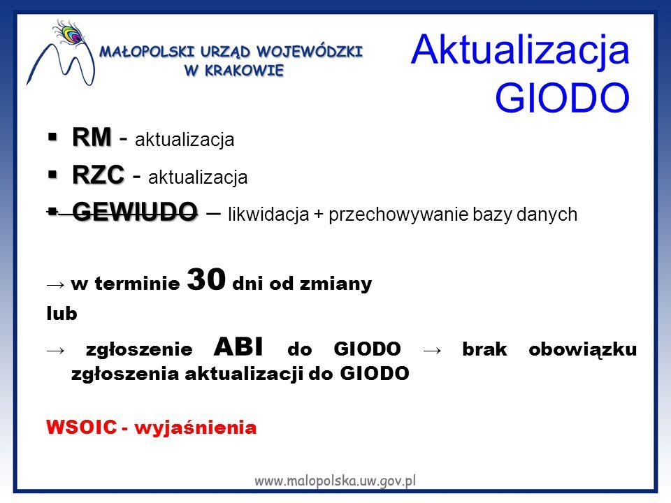 Aktualizacja GIODO  RM  RM - aktualizacja  RZC  RZC - aktualizacja  GEWIUDO  GEWIUDO – likwidacja + przechowywanie bazy danych → w terminie 30 d