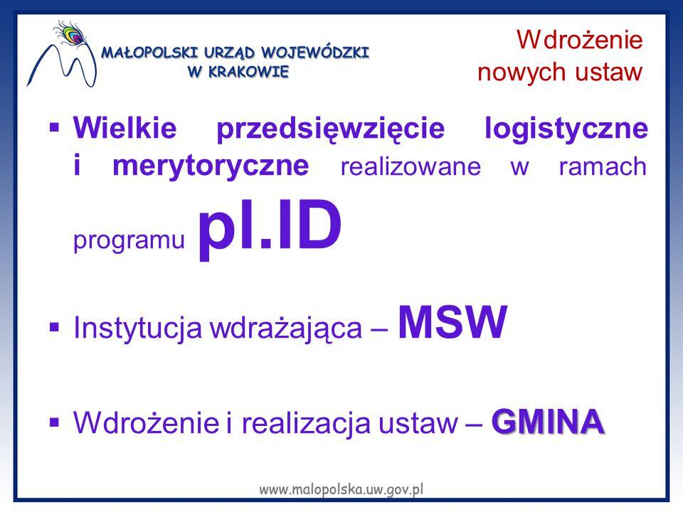 Wdrożenie nowych ustaw  Wielkie przedsięwzięcie logistyczne i merytoryczne realizowane w ramach programu pl.ID  Instytucja wdrażająca – MSW GMINA 