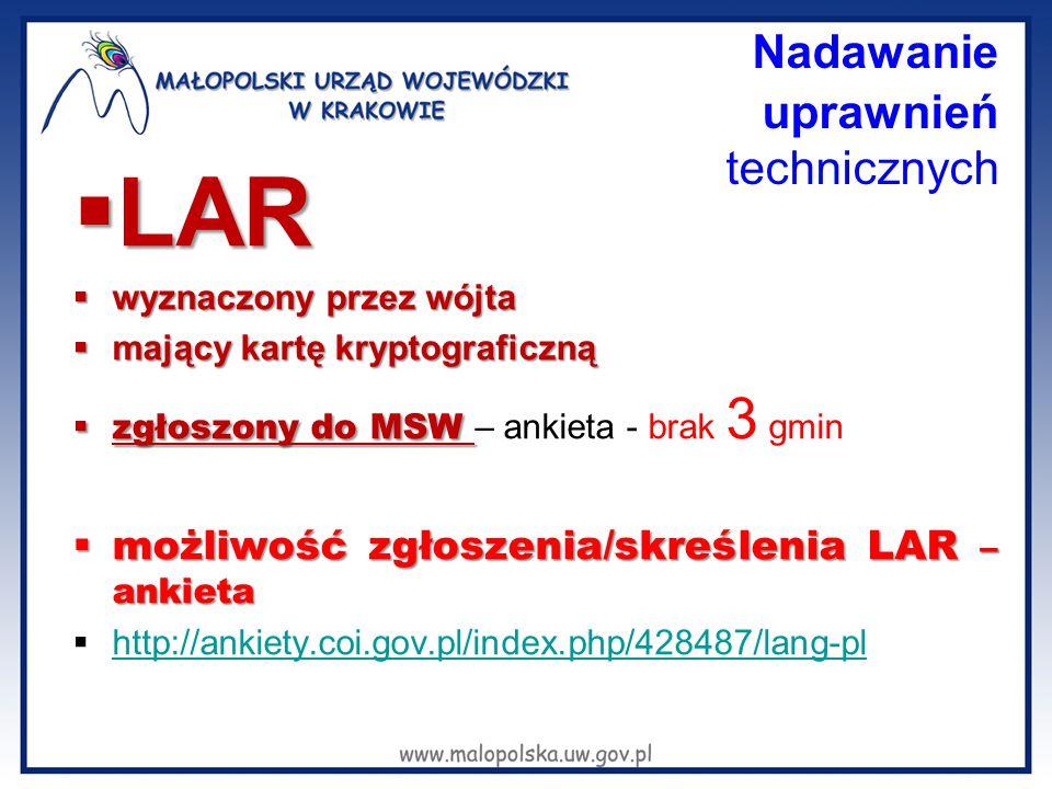 Nadawanie uprawnień technicznych  LAR  wyznaczony przez wójta  mający kartę kryptograficzną  zgłoszony do MSW  zgłoszony do MSW – ankieta - brak