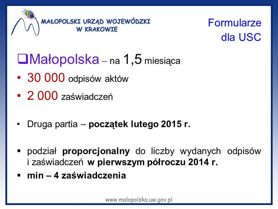 Formularze dla USC  Małopolska – na 1,5 miesiąca 30 000 odpisów aktów 2 000 zaświadczeń Druga partia – początek lutego 2015 r.  podział proporcjonal