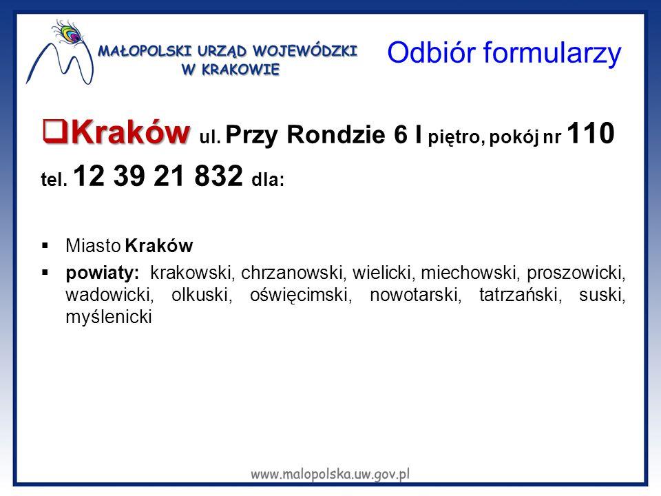 Odbiór formularzy  Kraków  Kraków ul. Przy Rondzie 6 I piętro, pokój nr 110 tel. 12 39 21 832 dla:  Miasto Kraków  powiaty: krakowski, chrzanowski