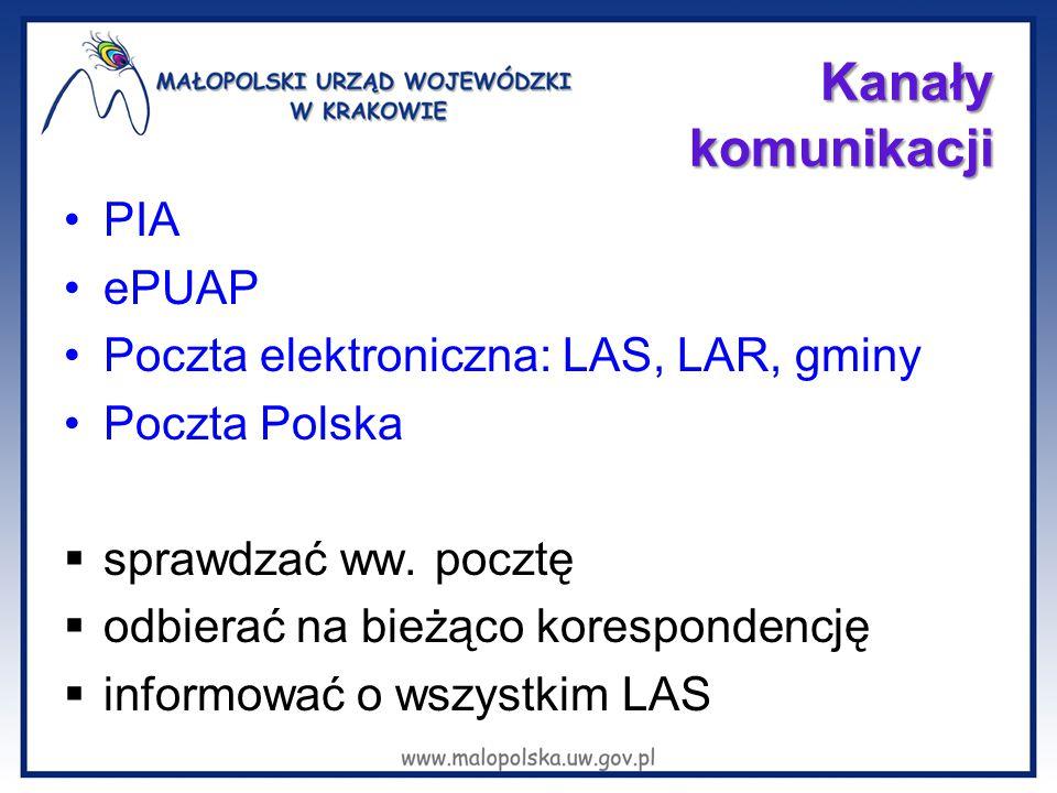Kanały komunikacji PIA ePUAP Poczta elektroniczna: LAS, LAR, gminy Poczta Polska  sprawdzać ww. pocztę  odbierać na bieżąco korespondencję  informo
